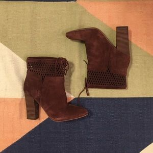 Maroon Suede Boots Size 10